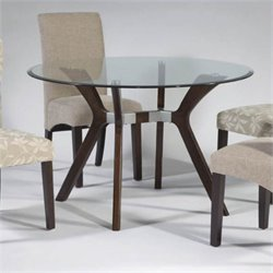 Chintaly Luisa Round Glass Top Dining Table in Dark Walnut