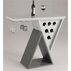 Chintaly Mulberry Modern Double Triangle Home Bar in Light & Dark Grey