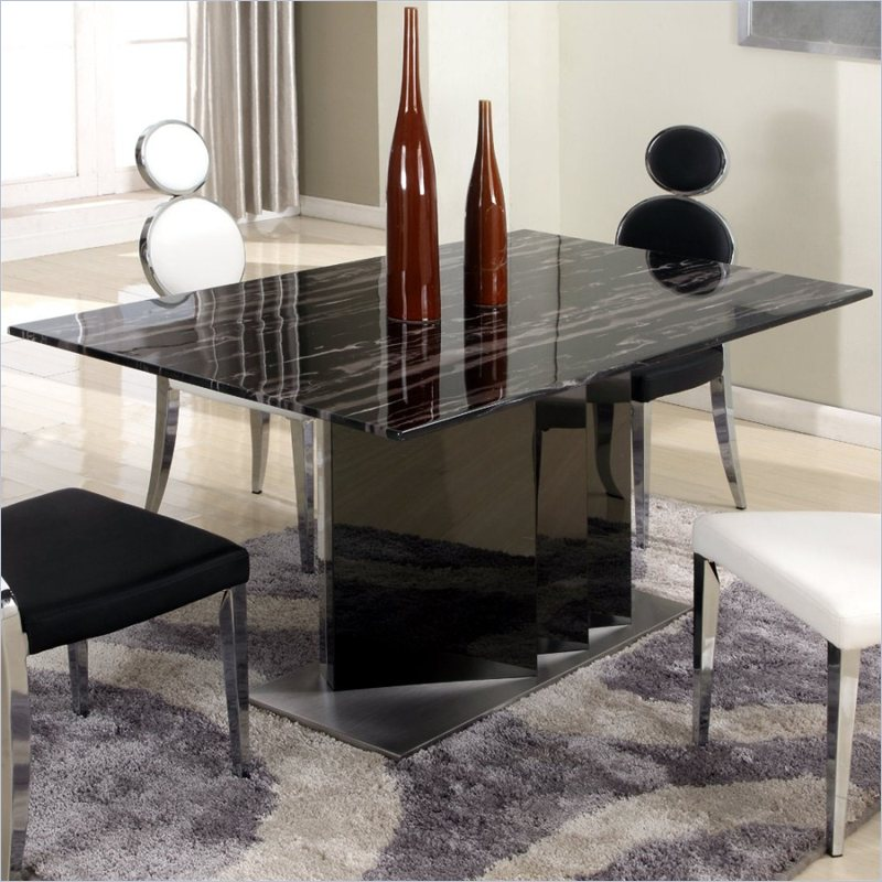 chintaly oprah solid marble top stainless steel dining. Black Bedroom Furniture Sets. Home Design Ideas