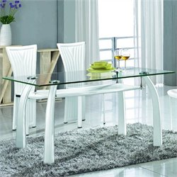 Chintaly Ramona Rectangular Glass Dining Table Top in Clear and White