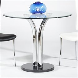 Chintaly Round Beveled Edge Glass Top Pub Table in Clear and Chrome