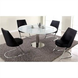 Chintaly Tami S Piece Extendable Glass Top Dining Set