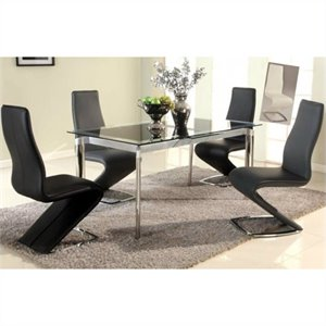Chintaly Tara 5 Piece Extendable Glass Top Dining Set