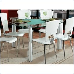 Chintaly Tracy Triangular Glass Top Dining Table in Chrome