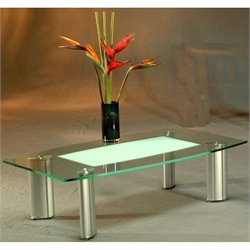 Chintaly Tracy Boat Shape Glass Cocktail Table in Brushed Silver