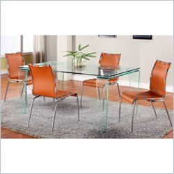 Chintaly Vera Rectangular Glass Dining Table with 4 Camel Chairs