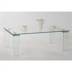 Chintaly Vera Rectangular Glass Top Cocktail Table in Clear