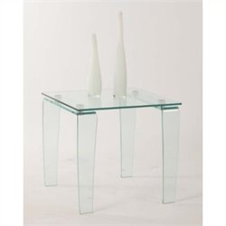 Chintaly Vera Squared Glass Top Lamp Table in Clear