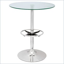 Chintaly Round Glass Top Pub Table in Chrome