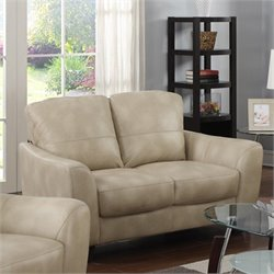 Chintaly Fremont Leather Loveseat in Taupe
