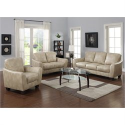 Chintaly Fremont 3 Piece Leather Sofa Set in Taupe
