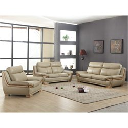Chintaly Kingston 3 Piece Leather Sofa Set in Taupe
