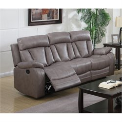 Chintaly Modesto Faux Leather Sofa in Gray