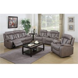 Chintaly Modesto Faux Leather 3 Piece Sofa Set in Gray