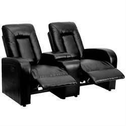 2 Seat Leather Reclining Home Theater Seating in Black