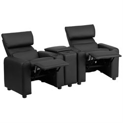 2 Seat Leather Reclining Kids Theater Seating in Black