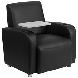 Leather Guest Chair with Cup Holder in Black