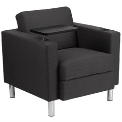 Fabric Guest Chair with Cup Holder in Charcoal Gray