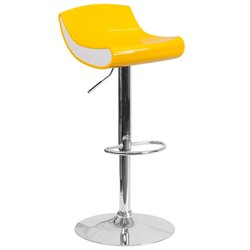 Plastic Adjustable Bar Stool in Yellow and White