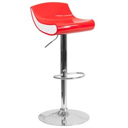 Flash Furniture Plastic Adjustable Bar Stool in Red and White