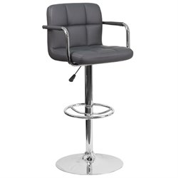 Faux Leather Quilted Adjustable Bar Stool in Gray