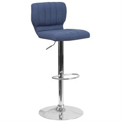 Fabric Adjustable Bar Stool in Blue