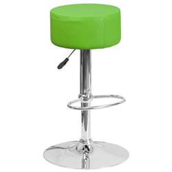 Faux Leather Adjustable Bar Stool in Green