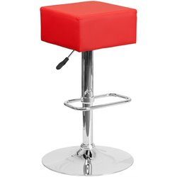 Flash Furniture Faux Leather Adjustable Bar Stool in Red