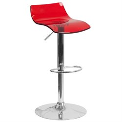Flash Furniture Transparent Acrylic Adjustable Bar Stool in Red