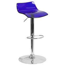 Transparent Acrylic Adjustable Bar Stool in Blue