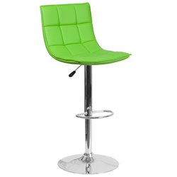 Faux Leather Quilted Adjustable Bar Stool in Green