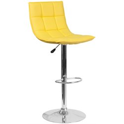 Faux Leather Quilted Adjustable Bar Stool in Yellow