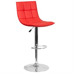 Flash Furniture Faux Leather Quilted Adjustable Bar Stool in Red