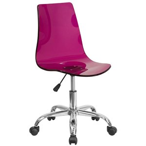 Transparent Acrylic Swivel Office Chair in Purple