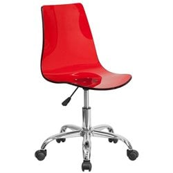 Transparent Acrylic Swivel Office Chair in Red