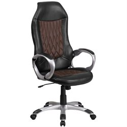 Faux Leather Swivel Office Chair in Black and Brown