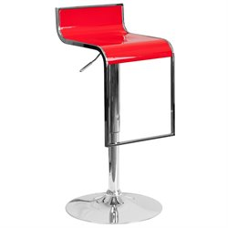 Flash Furniture Plastic Adjustable Bar Stool in Red