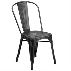 Metal Dining Chair in Distressed Black