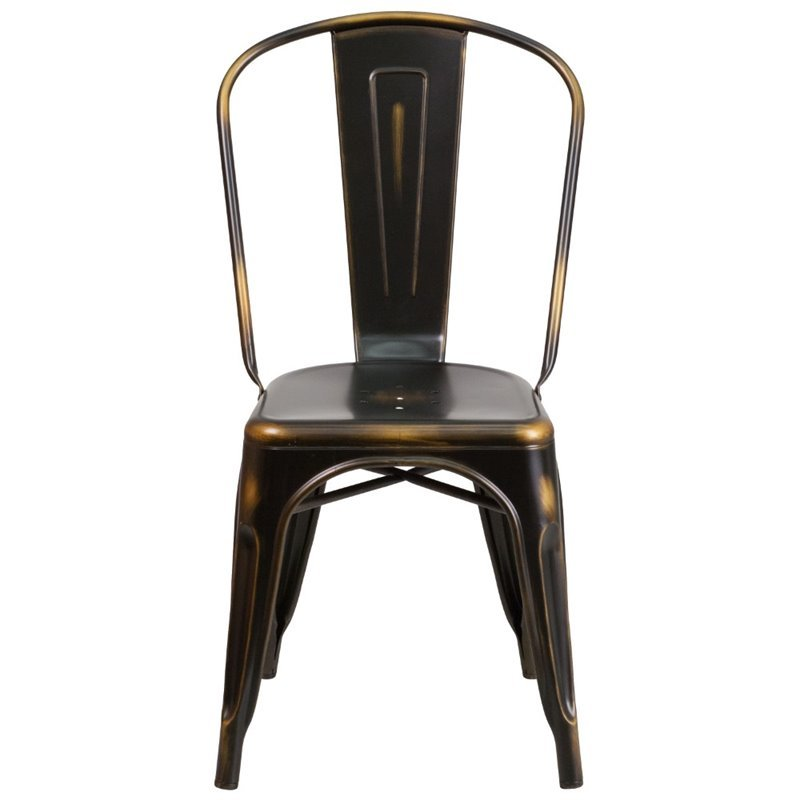 Flash Furniture Metal Curved Slat Back Dining Side Chair in Distressed Copper