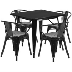 5 Piece Square Metal Dining Set in Black