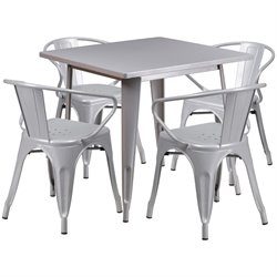 5 Piece Square Metal Dining Set in Silver