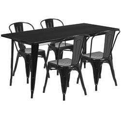 5 Piece Metal Dining Set in Black