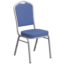 Fabric Banquet Stack Chair in Silver and Blue