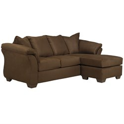 Microfiber Right Facing Sectional in Cafe