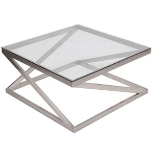 Square Glass Top Coffee Table in Brushed Nickel