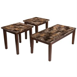 3 Piece Faux Marble Top Coffee Table Set in Warm Brown