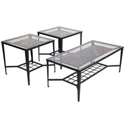 3 Piece Glass Top Coffee Table Set in Bronze and Slate