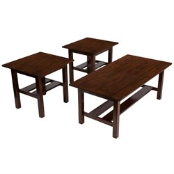 3 Piece Coffee Table Set in Medium Brown