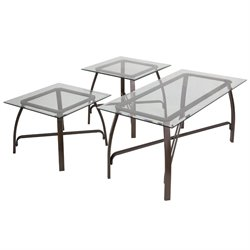 3 Piece Glass Top Coffee Table Set in Bronze