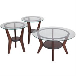 3 Piece Glass Top Coffee Table Set in Dark Brown